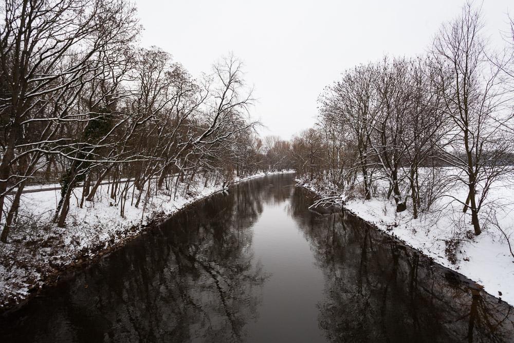 Pegnitz im Winter, Fürth, Schnee