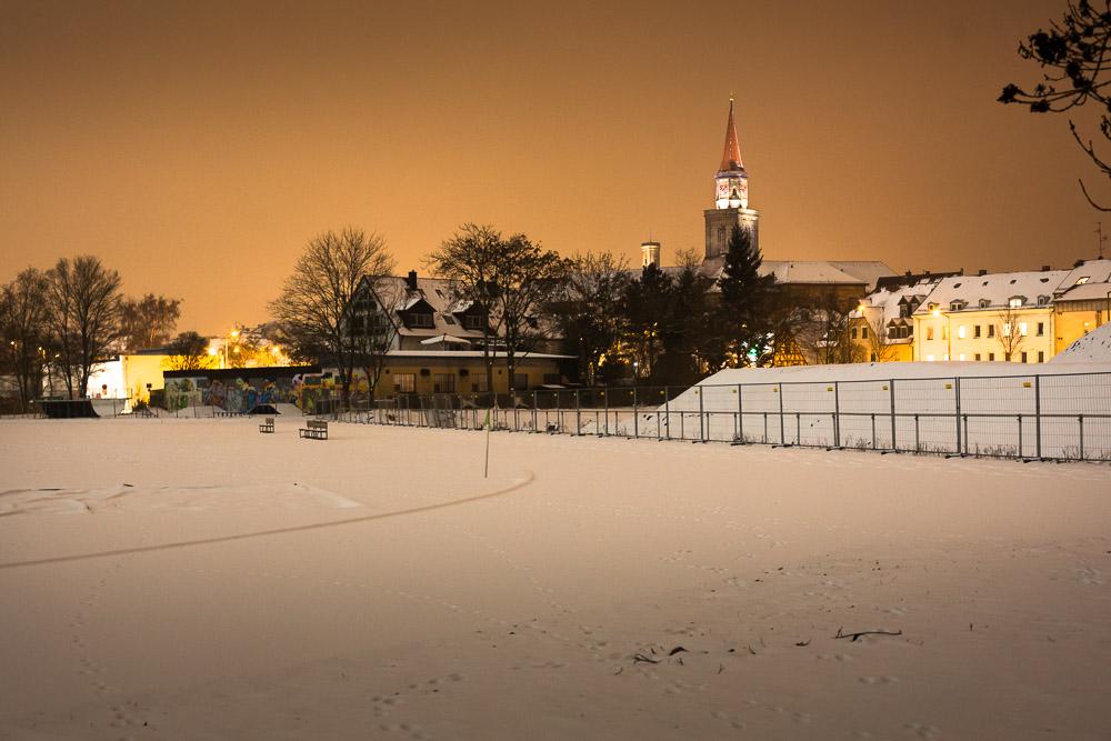 Fürth im Schnee, Rathaus, St.Michael