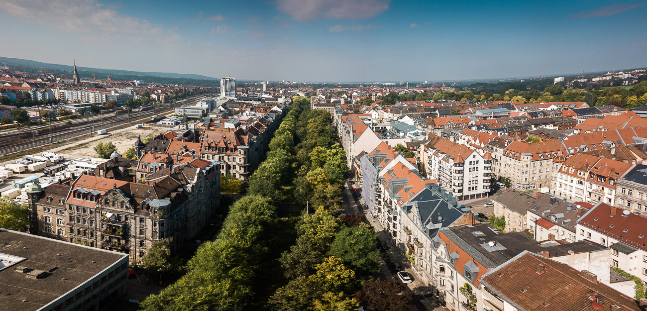 Willy-Brandt-Anlage Fürth mit Hornschuchpromenade und Königswarterstraße
