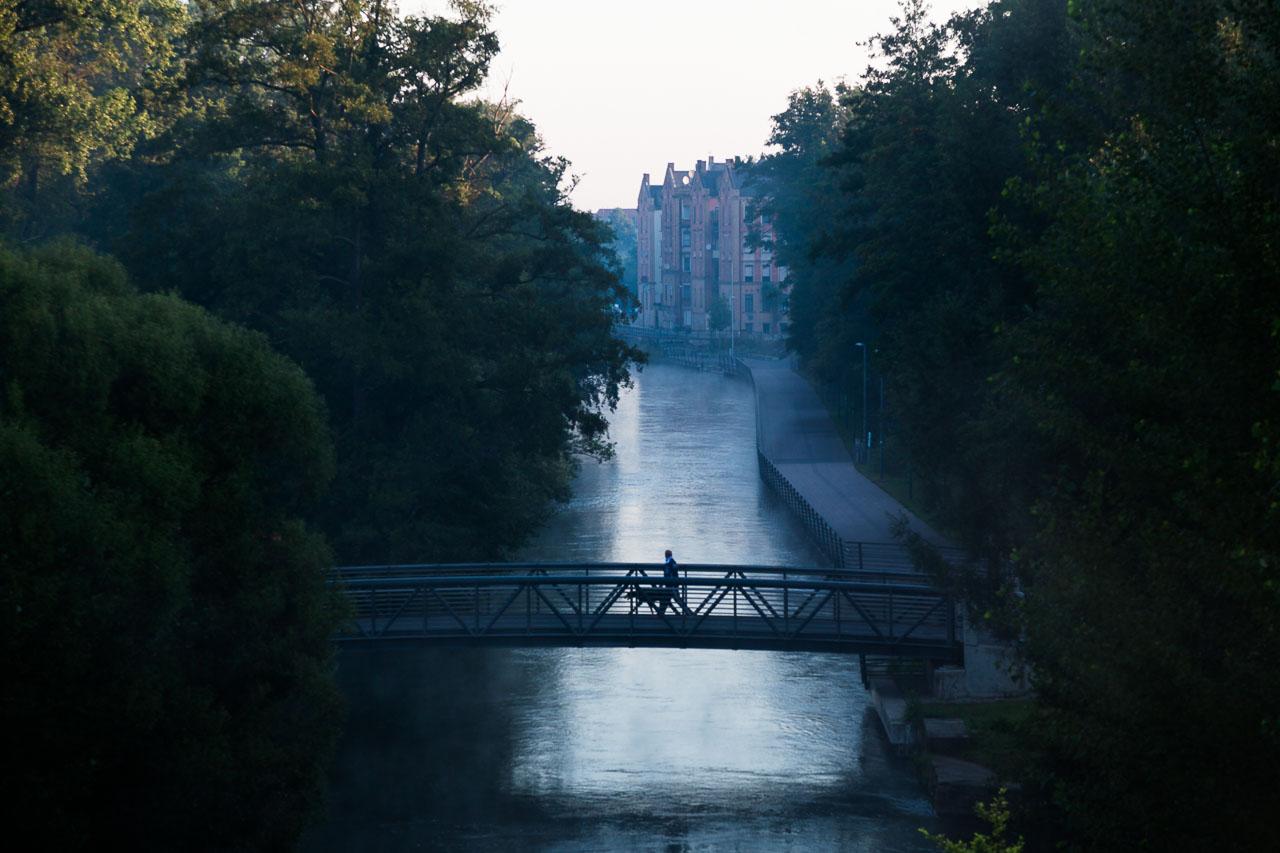 Uferpromenade Fürth morgens im Nebel über der Rednitz