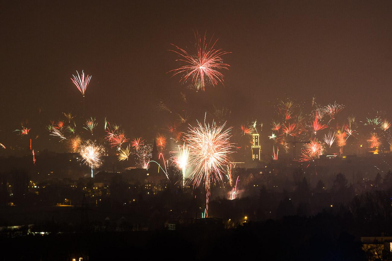 Silvesterfeuerwerk in Fürth