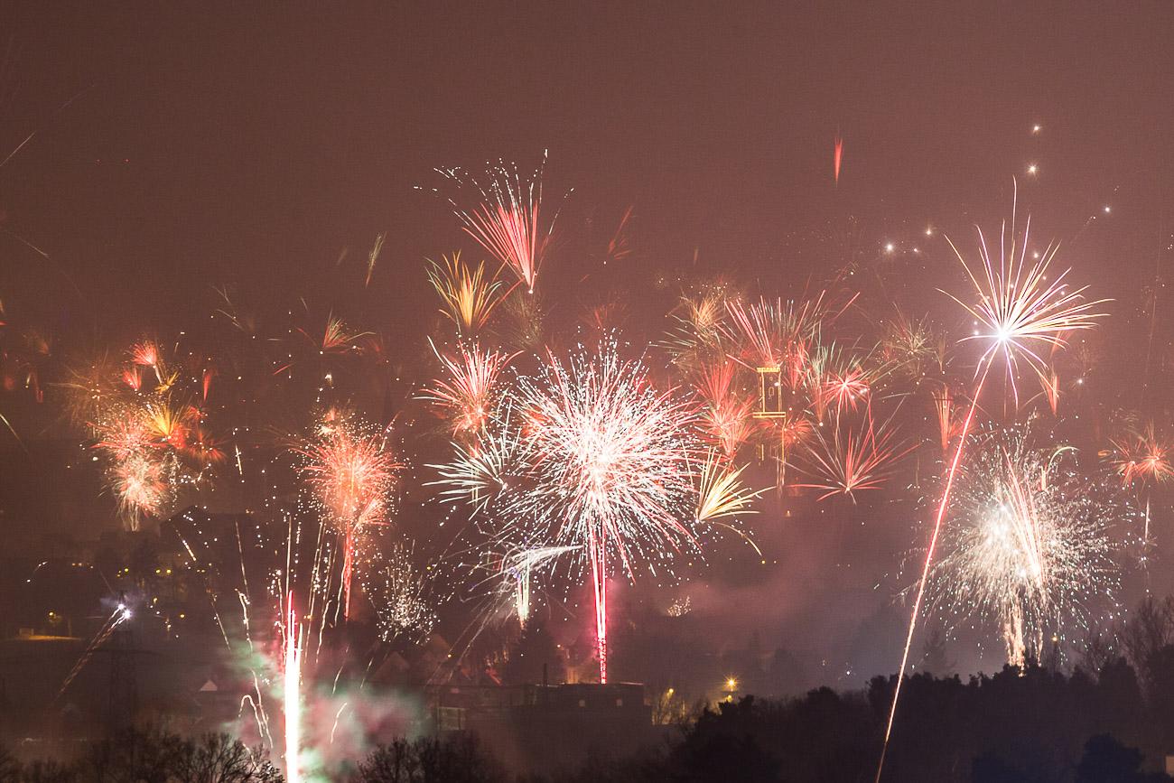 Rathaus Fürth im Feuerwerk