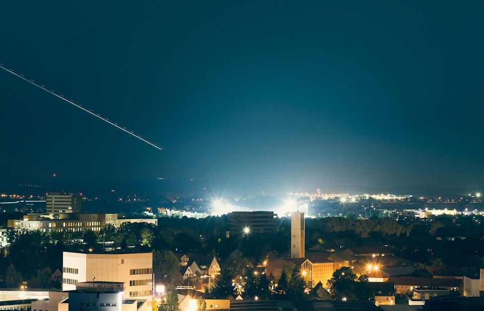 Fürther Stadion mit Flutlichtmasten