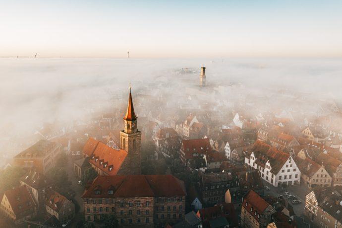 Fürth Altstadt im Nebel