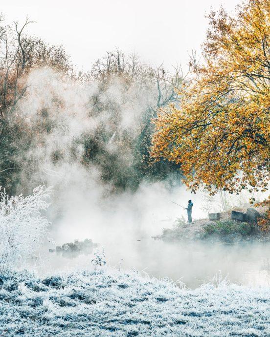 Fürther Angler im Nebel