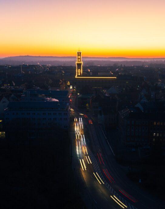 Rathaus Fürth beleuchtet